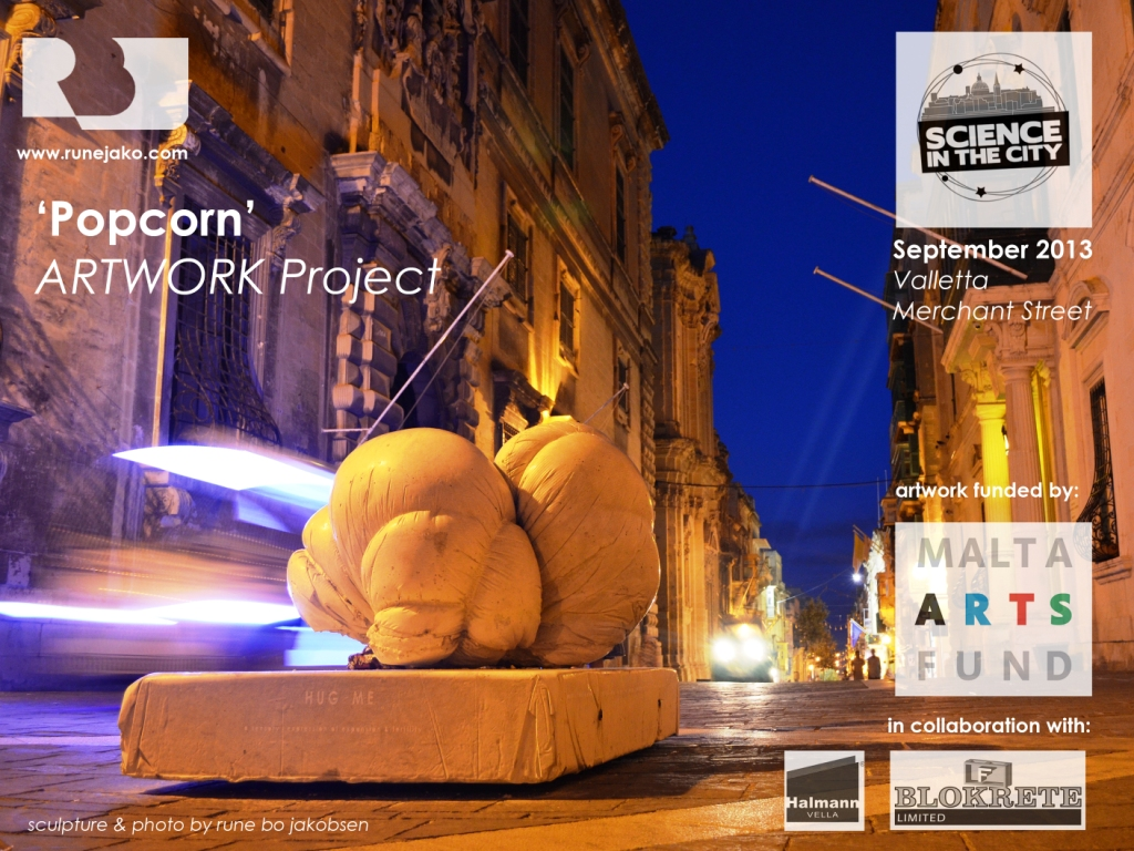 'Popcorn' artwork at Valletta Merchant Street with electric taxis zipping by, September 2013, rbj
